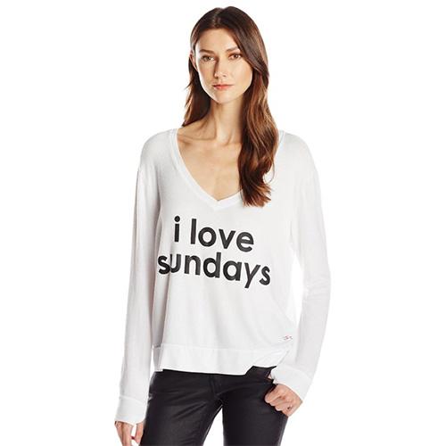 Peace Love World Womens I Love Sundays Comfy Cozy Sweatshirt White