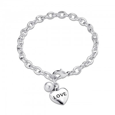Pearl Love Word Heart Charm Silver Chaincelet