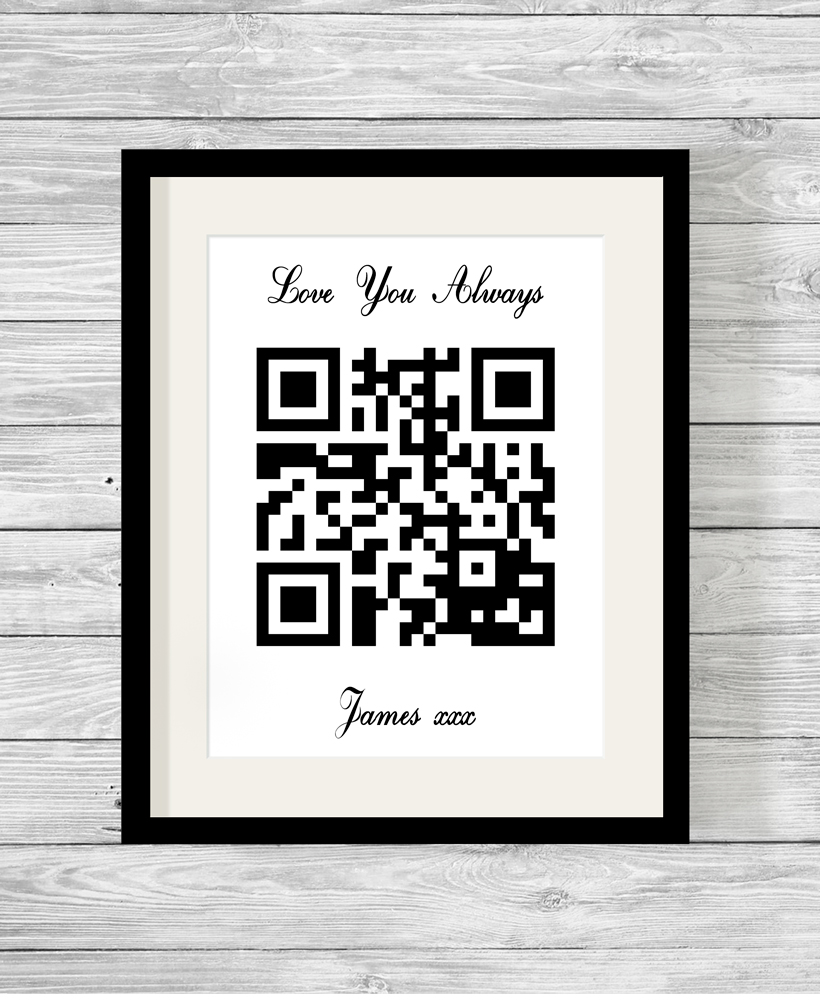 Personalised Qr Code Secret Message Word Art Print Gift