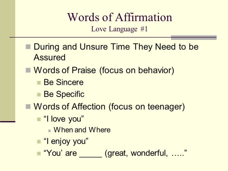 Words Of Affirmation Love Language