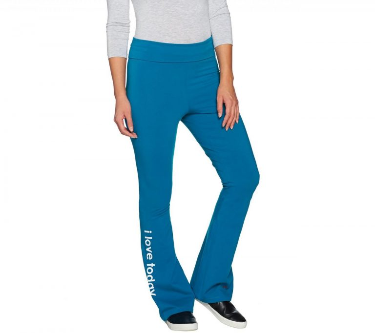 Peace Love World Bootcut Knit Yoga Pants With Foldover Waist Page  Qvc Com