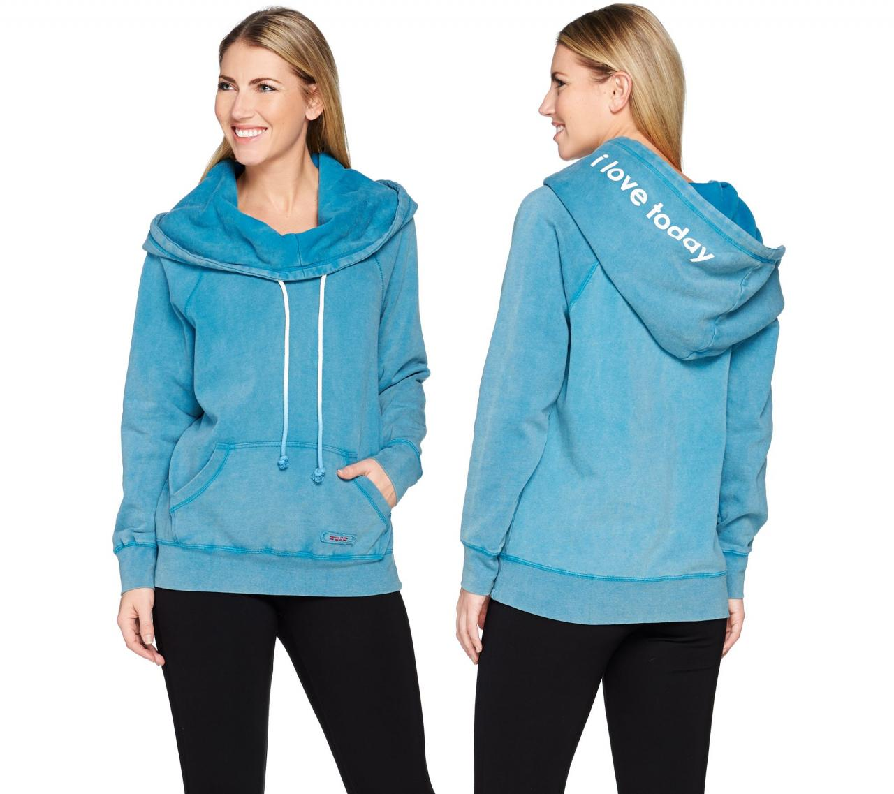 Peace Love World Fleece Knit Hoodie With Kangaroo Pocket A