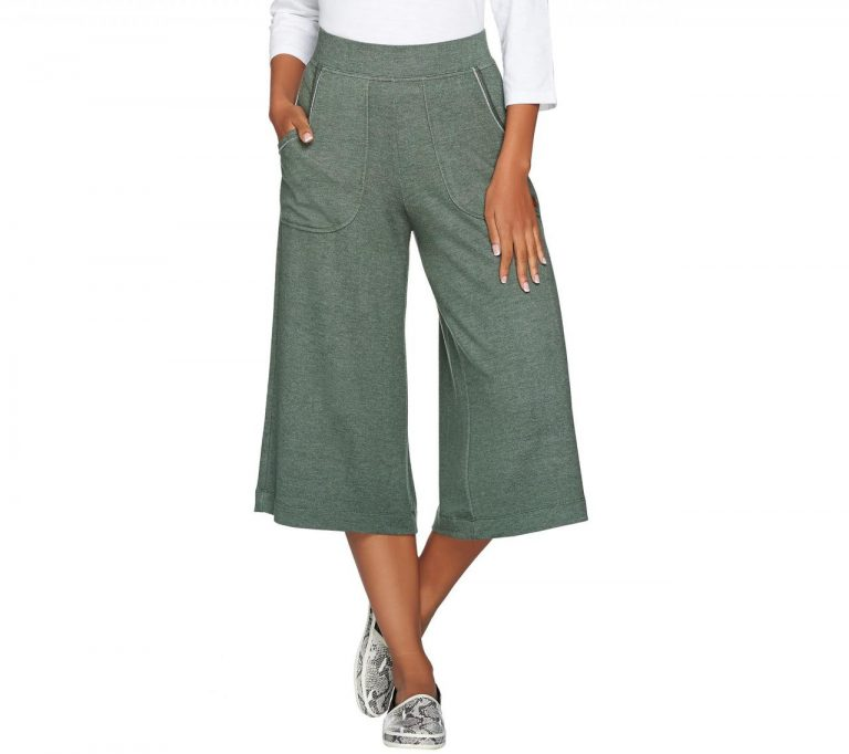Peace Love World Heathered Knit Gaucho Pants With Pockets A