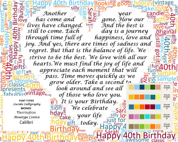 Th Birthday Gift Word Art Th Birthday Poem Word Cloud Forty Birthday Gifts  Print