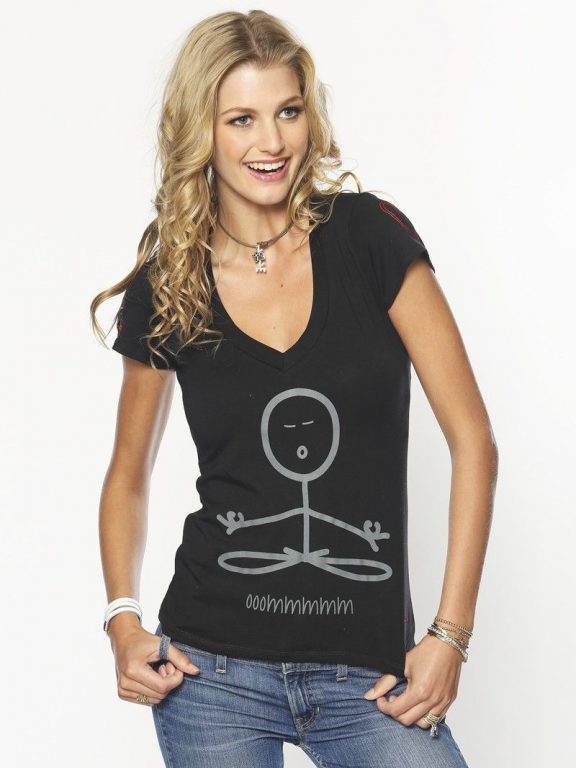 Peace Love World I Am Balance Lovelive Black V Neck Tee Tees Short