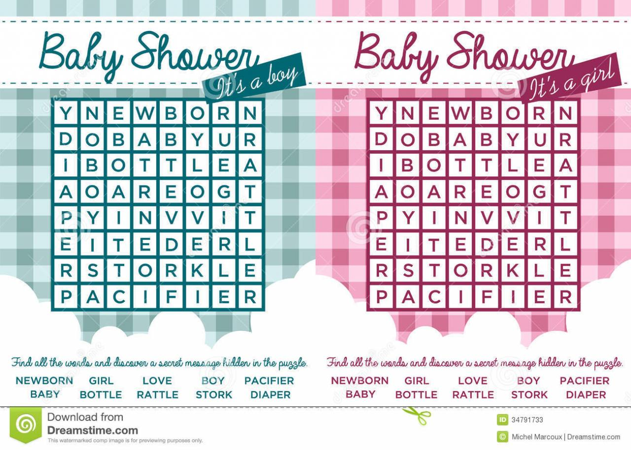 Baby Shower Word Puzzles