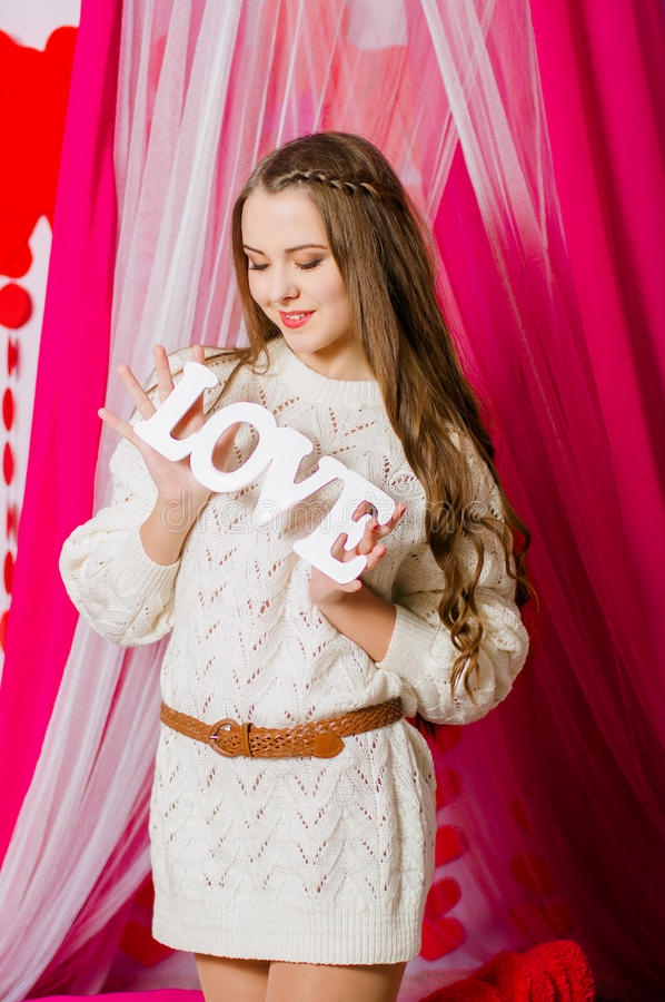 Download Beautiful Girl With The Word Love Stock P O Image Of Bride History