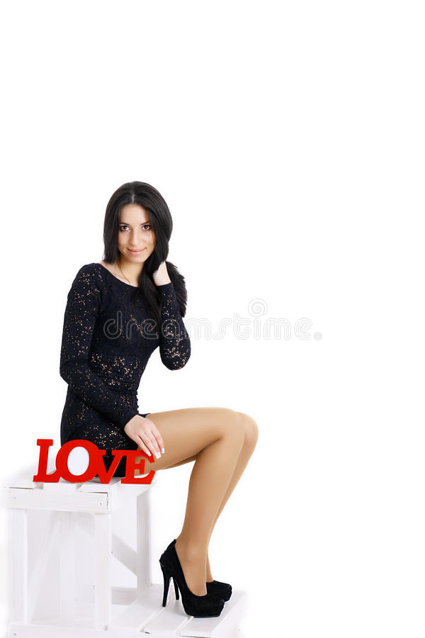 Download Beautiful Girl With Words Love Stock Image Image Of Dear Love