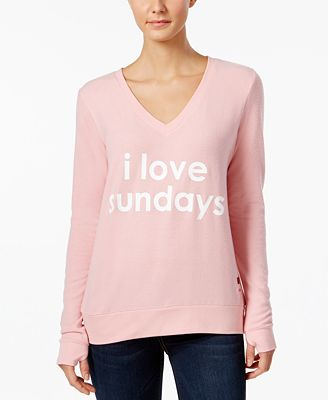 Peace Love World Sundays Graphic Thumb Hole Sweatshirt