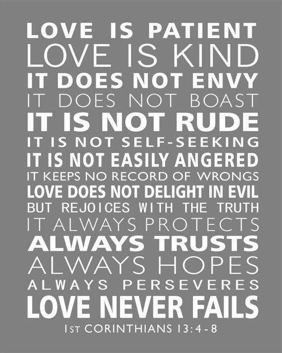 St Corinthians  Love Is Patient Subway Style Scripture Art Christian Word Art Print