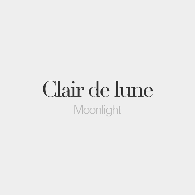 French Words On Clair De Lune Masculine Word Moonlightn