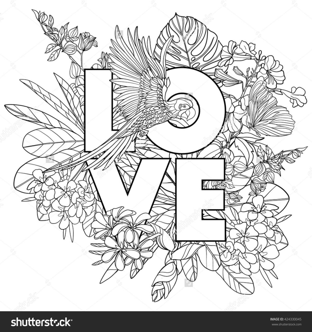 Coloring Page With Word Love And Tropical Birds And Plants Outline Vector Il Ration Buy This Stock Vector On Shutterstock Find Other Images