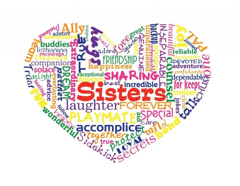 Sisters Love Heart Typography Word Art Print By