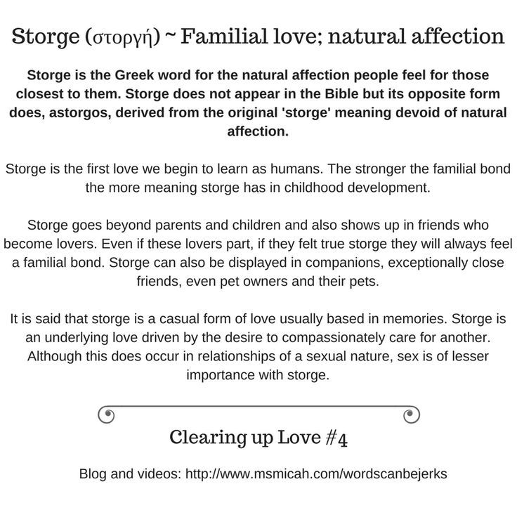 Storge Is The Greek Word For The Natural Affection People Feel For Those Closest To Them Storge Does Not Appear In The Bible But Its Opposite Form Does