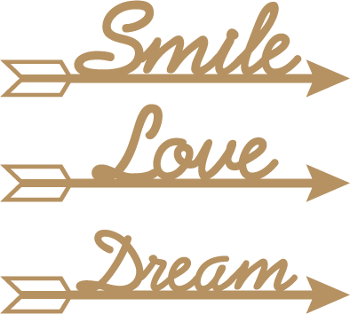 Aplique Decorativos Em Mdf Flecha Smile Love Dream Lr