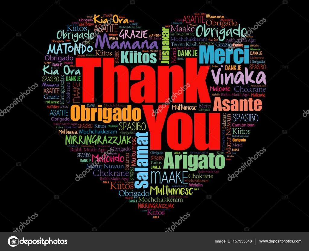 Thank You Love Heart Word Cloud Stock Vector