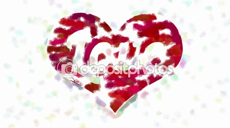 Word Love In Heart Symbol Abstract Painting Stock