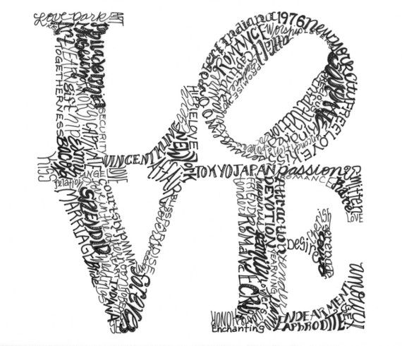 Items Similar To Philadelphias Robert Indiana Love Word Art Typography Il Ration Hand Drawn Valentineigraphyigram Matted Word Art Print On