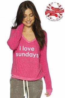 Peace Love World I Love Sundays Pink Oversized Comfy Top