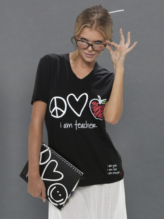 I Am Teacher Black V Neck Tee