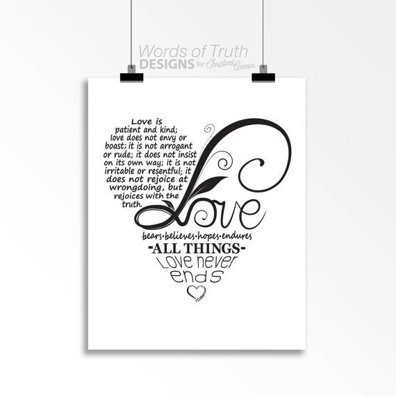 Love Word Art Print Bible Verse Heart Shape Design Wedding Gift