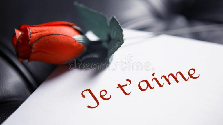 Download French Words For I Love You On White Paper With Red Rose Stock Image