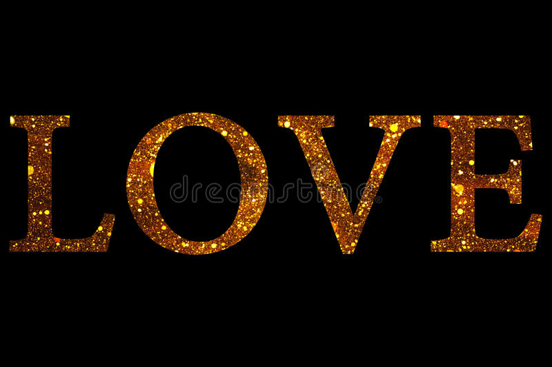 Download Gold Glitter Sparkle Particles Love Word Shape On Black Background Holiday Festive Valentine Day