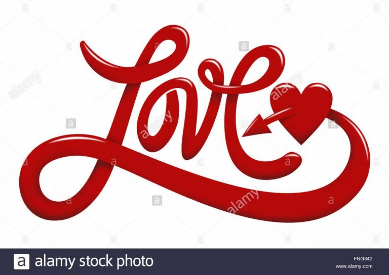 Hand Lettering Of The Word Love In Red Color Isolated On White Background