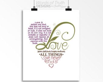 Love Word Art Print Bible Verse Heart Shape Design