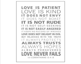 Love Is Patient Love Is Kind Scripture Wall Art St Corinthians  Christian