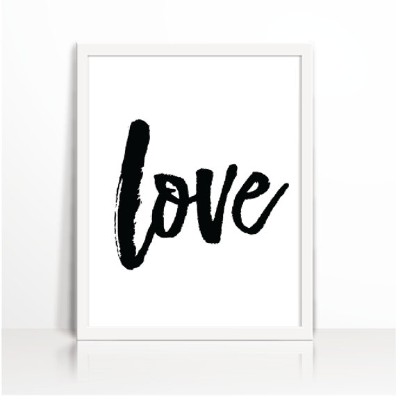 Love Print Home Decor Love One Word Quote Black And White Print Minimal Black Brush Strokeinstant Download
