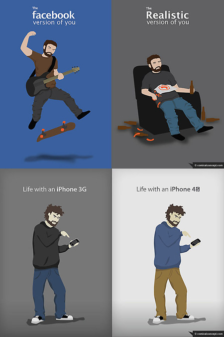 Comical Concept Has Created A Series Of Funny Il Rations Showing Just What The Average Geek Thinks Of Themselves Versus Reality For Example Most People
