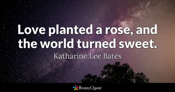 Love Planted A Rose And The World Turned Sweet Katharine Lee Bates