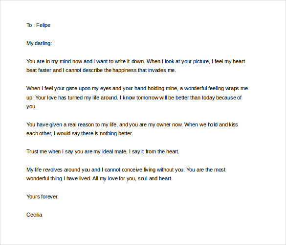 Love Letters For Him From The Heart Example Word Format