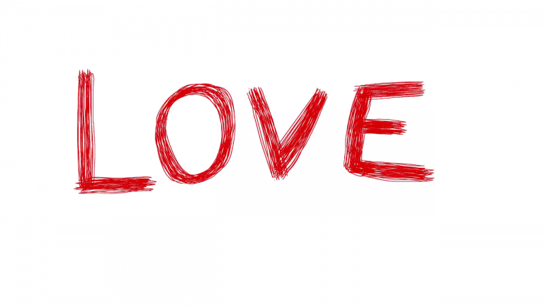 Love Red Word Scribble Animation Doodle Cartoon K Motion Background Blocks