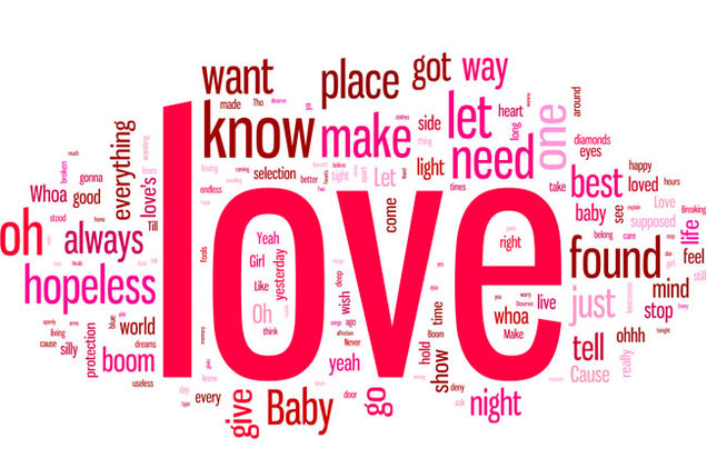Take A Look At The Most Popular Words From The Lyrics Of The Top  Love Songs Ever