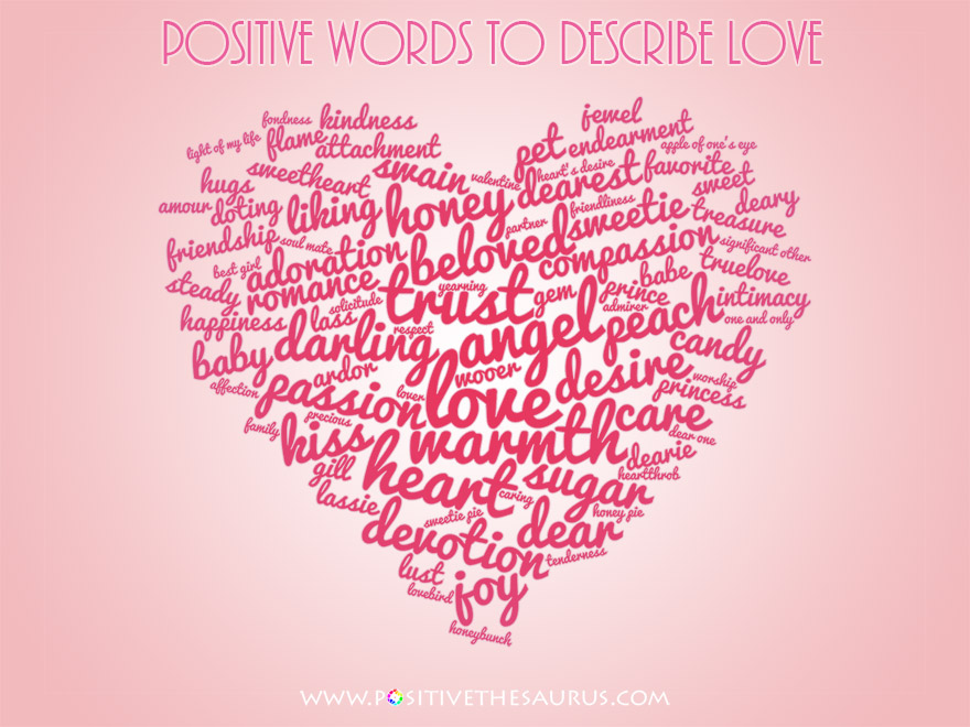 Love Synonyms Heart Shaped Word Cloud