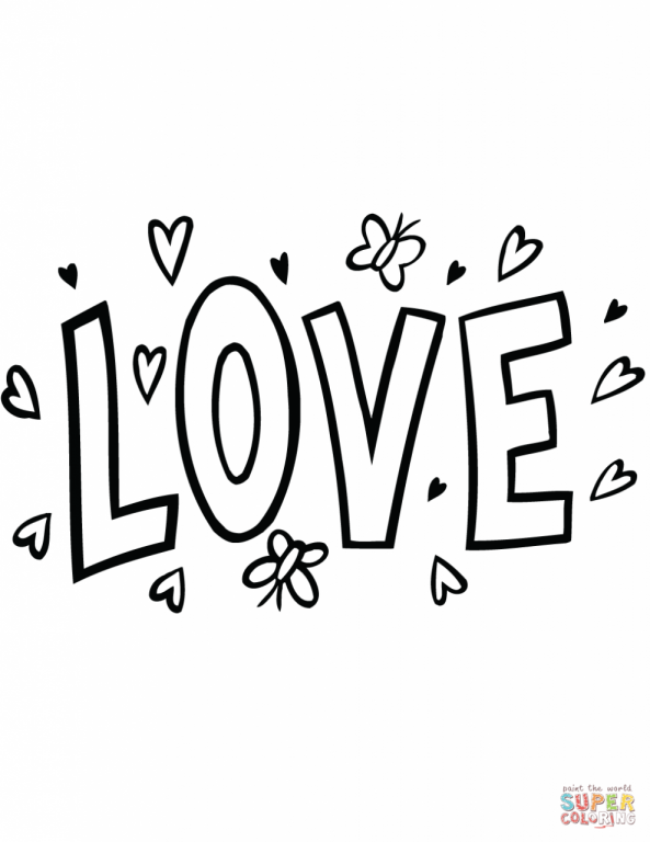 Click The Love Word Art Coloring Pages To View Printable Version Or Color It Online Compatible With Ipad And Android Tablets