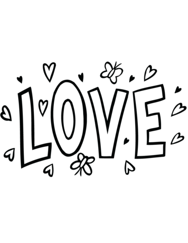 Love Word Art Coloring Page