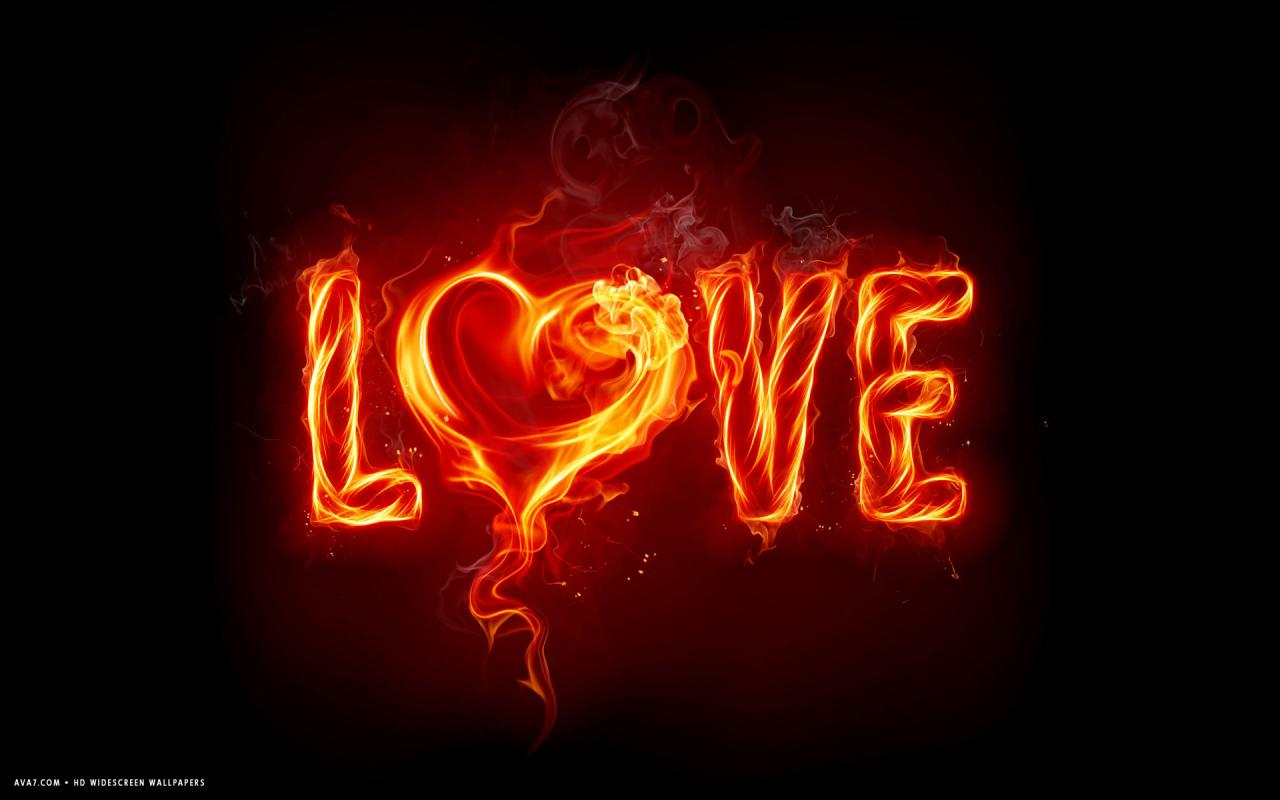 Love Word Burning Heart Hd Widescreen Wallpaper