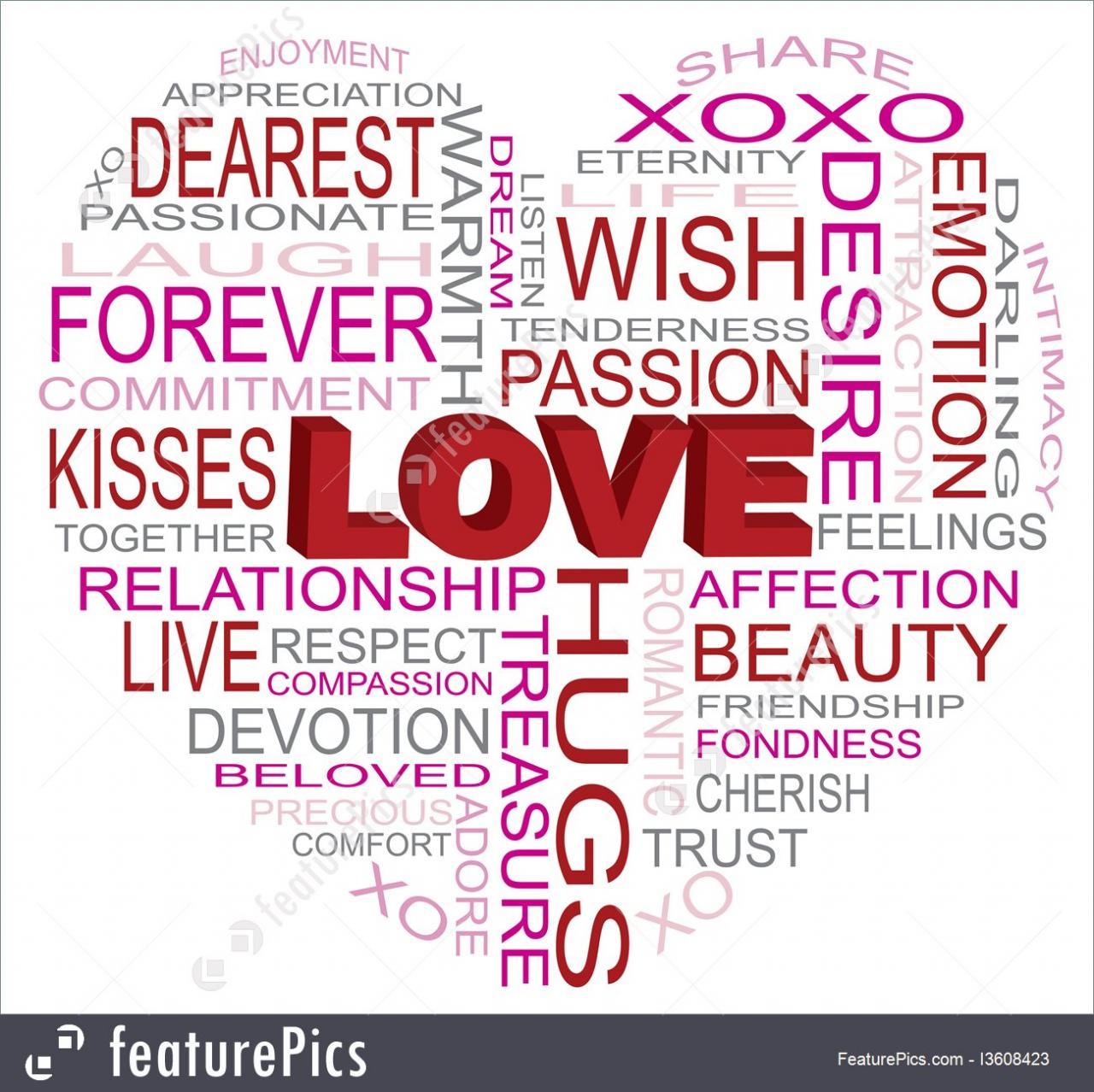 Signs And Info Valentines Day Love Word Cloud In Heart Shape Outline Isolated On White