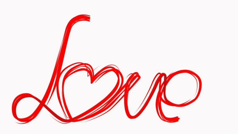 X Hand Draw Love Word Paint Brush Animation Red Color Heart At