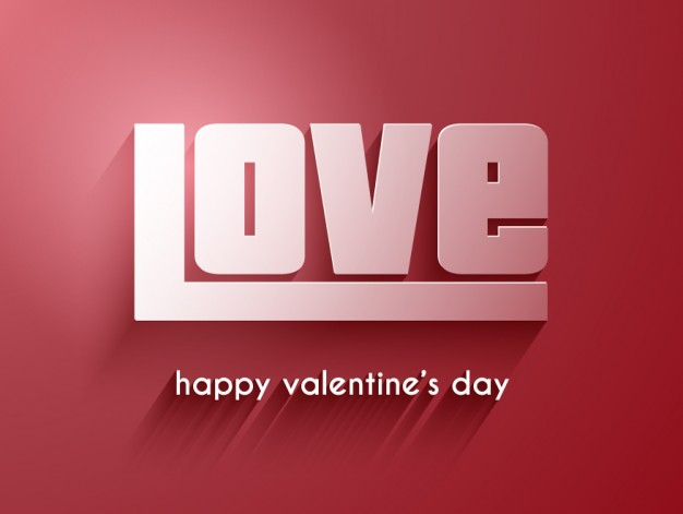 Love Word On A Red Background Free Vector