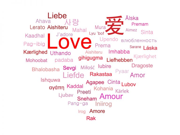 Write Word Love Different Languages