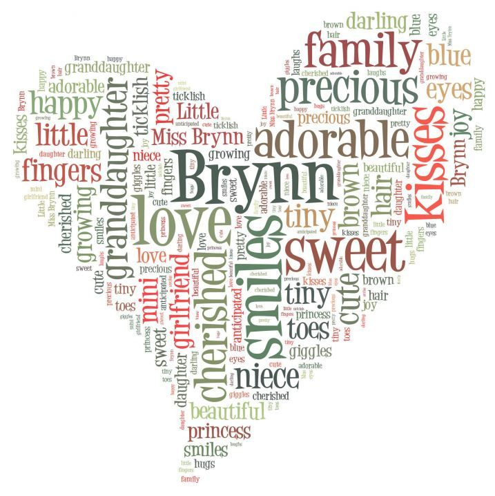 Make Your Own Word Art Made My Daughter S Name In A Heart Shape Typography Cloud