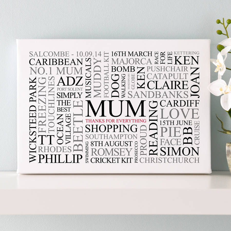 Mums Favourites Word Art Print