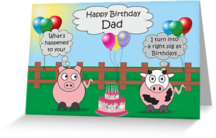 Dad Funny Animals Pig Cow Humor Cute Birthday By Samanthaon