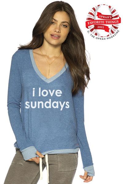 Peace Love World I Love Sundays Blue Oversized Comfy Top