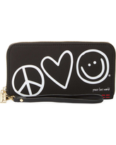 Peace Love World Womens Patches Zip Around Wristlet Wallet Black