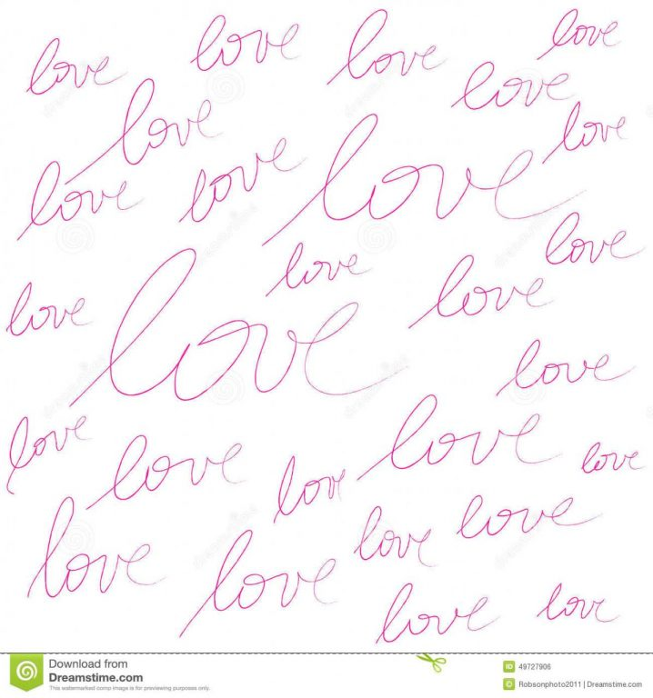 Pink Color Love Word Handwriting